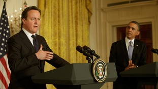 Prime Minister David Cameron with President Barack Obama at the White House in May.