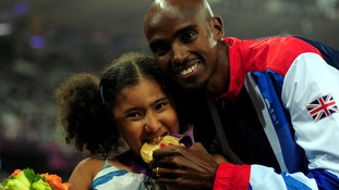 Great Britain Mo Farah and his daughter Rihanna.