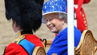 The Queen smiles during the Trooping the Colour.