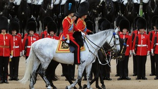 The Duke of Cambridge Princess Royal and the Prince of Wales arrive at Horse Guards Parade.