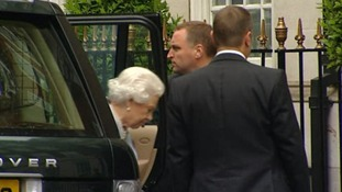 The Queen arriving to visit the Duke of Edinburgh.