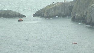 Lifeboats off the coast of Anglesey.