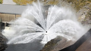 Water discharging from a dam