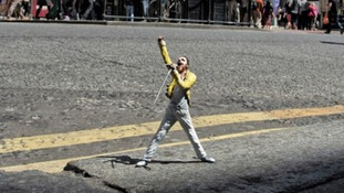 Freddie Mercury was positioned outside the Dominion Theatre