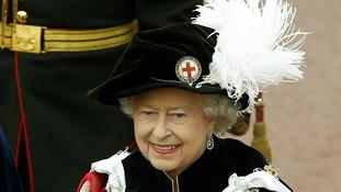 Queen Elizabeth II walks in procession in the annual Garter Ceremony at Windsor Castle