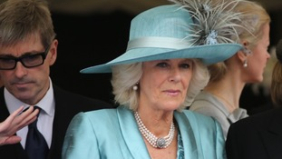 The Duchess of Cornwall wears blue