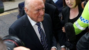 Stuart Hall pictured arriving at Preston Crown Court this morning.