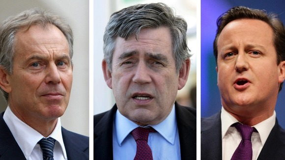 From left: former Prime Minister Tony Blair, former Prime Minister Gordon Brown and Prime Minister David Cameron