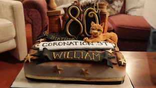 The 80th birthday cake which was presented to William Roache on the set of Coronation Street