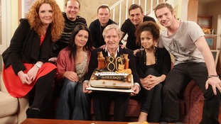 William Roache with other cast members