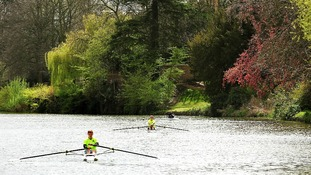 Rowers enjoy a break from rain on the River Avon in Strafford upon Avon.