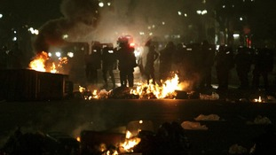 Riot police face off against demonstrators in Sao Paulo, Brazil on Tuesday night