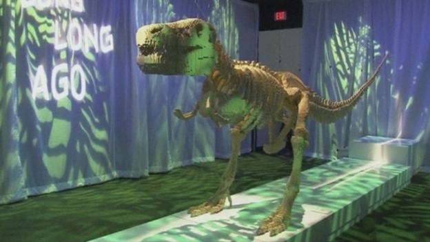 A LEGO sculpture of a Tyrannosaurus rex skeleton at the exhibition.