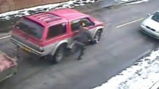 CCTV shows driver being flung from a stolen 4x4