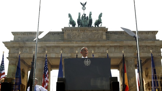 President Barack Obama in front of Berlin's Brandenburg Gate