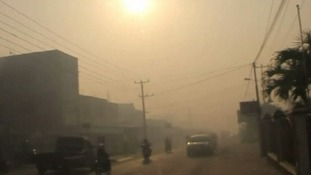 The haze is the result of illegal burning of forests in Indonesia.