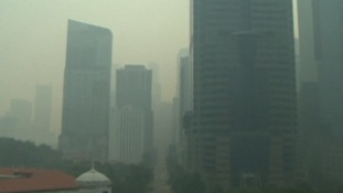 The Singapore skyline has been obscured by the smoke haze.