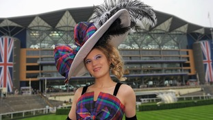 Mimi Theobald arrives for Ladies' Day of the Royal Ascot meeting at Ascot Racecourse, Berkshire.