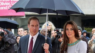 William and Kate braved the wet weather to attend the screening.