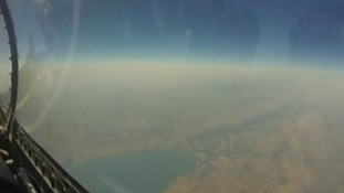 The view from inside the F1 fighter plane, flying in the north of Israel.