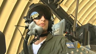 An Israeli pilot on an F16 fighter jet.