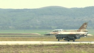 An Israeli F16 fighter jet on the border with Syria.