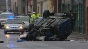 Overturned car on Ber Street in Norwich