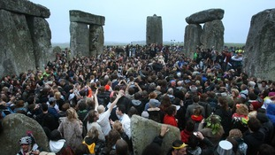 Crowds gather at Stonehenge in Wiltshire for the summer solstice