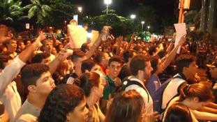 Protesters demonstrate in Leblon