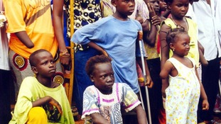 Child amputees in Freetown in 2001.