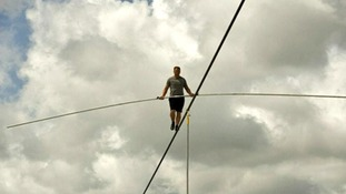 Nik Wallenda poses for photographers ahead of his crossing of the Grand Canyon