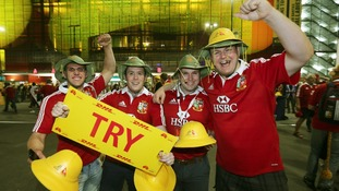 Lions fans arrive for the First Test match at the Suncorp Stadium, Brisbane.