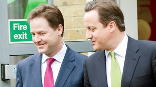 Deputy Prime Minister Nick Clegg with Prime Minister David Cameron