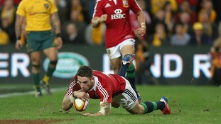 British and Irish Lions' Alex Cuthbert scores his team's second try