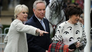 Michael Winner's widow Geraldine Winner (left) shows Lord and Lady Archer to their seats.