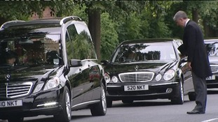 Henry Cecil's coffin arrives at St Agnes' Church in Newmarket