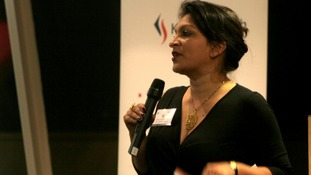 Julia Lalla-Maharajh speaking about Project Orchid event at speaking at The Funding Network in London