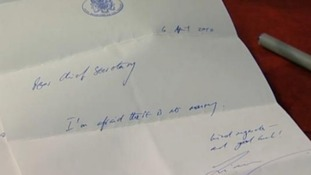 "The note reads: ""Dear Chief Secretary, I'm afraid there is no money. Kind regards - and good luck!"""