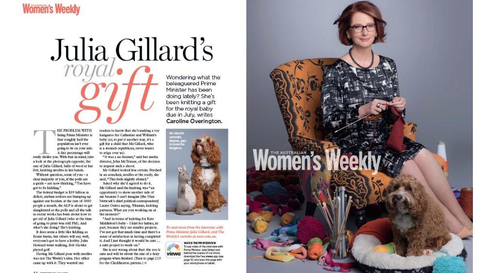 Kangaroo Knitting Pattern Julia Gillard : Australian Prime Minister pictured knitting toy kangaroo for royal baby - ITV...