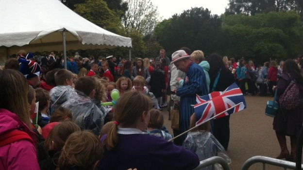Crowds awaiting the Queen's arrival in Margam Park