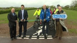 cutting the ribbon on the cycle path