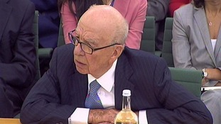 Rupert Murdoch giving evidence to MPs on the News of the World phone-hacking scandal in 2011