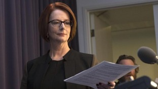Former Australian Prime Minister Julia Gillard, after losing a Labour Party leadership vote, announced her resignation in Canberra.
