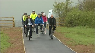 cyclists on Exeter airport cycle path