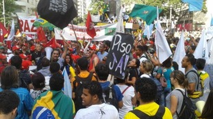 Protesters gather in Belo Horizonte.