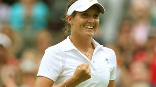 Laura Robson celebrates defeating Russia's Maria Kirilenko