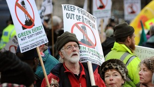 Anti-fracking demonstrators outside the Houses of Parliament, London