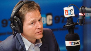 Nick Clegg on his weekly radio phone-in on LBC 97.3