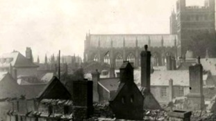 Exeter cathedral during the blitz