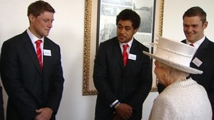 Rhys Priestland, Toby Faletau and Dan Lydiate meeting the Queen